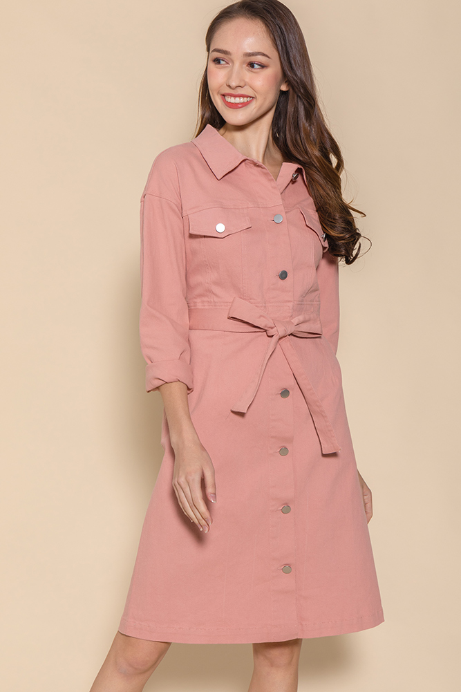 Penelope Convertible Denim Dress (Pink)