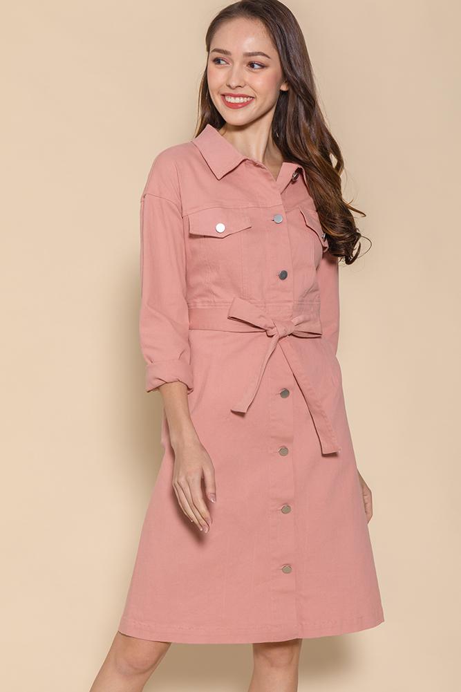 Penelope Convertible Denim Dress (Pink)