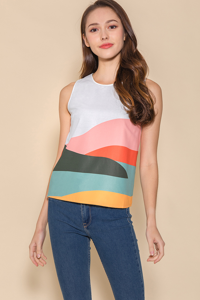 Panorama Reversible Tank Top (White/Forest Green)