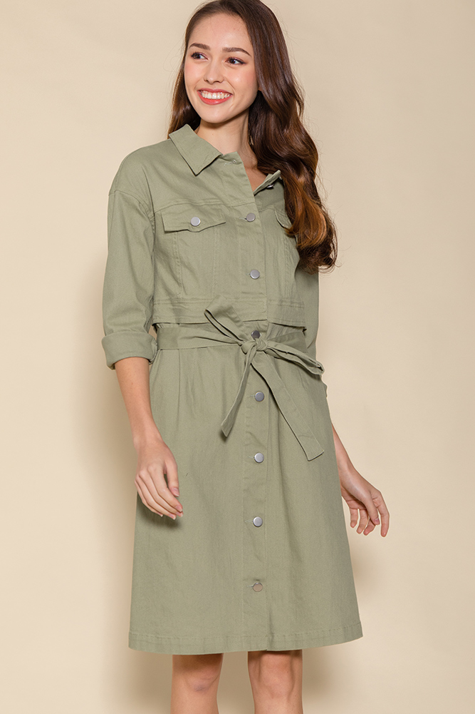 Penelope Convertible Denim Dress (Khaki)