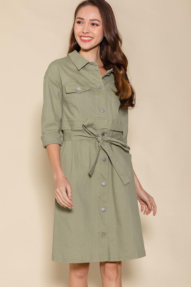 Penelope Convertible Denim Dress (Khaki)