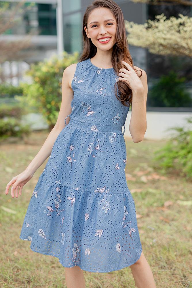 Flower Child Tiered Eyelet Dress (Blue Floral)