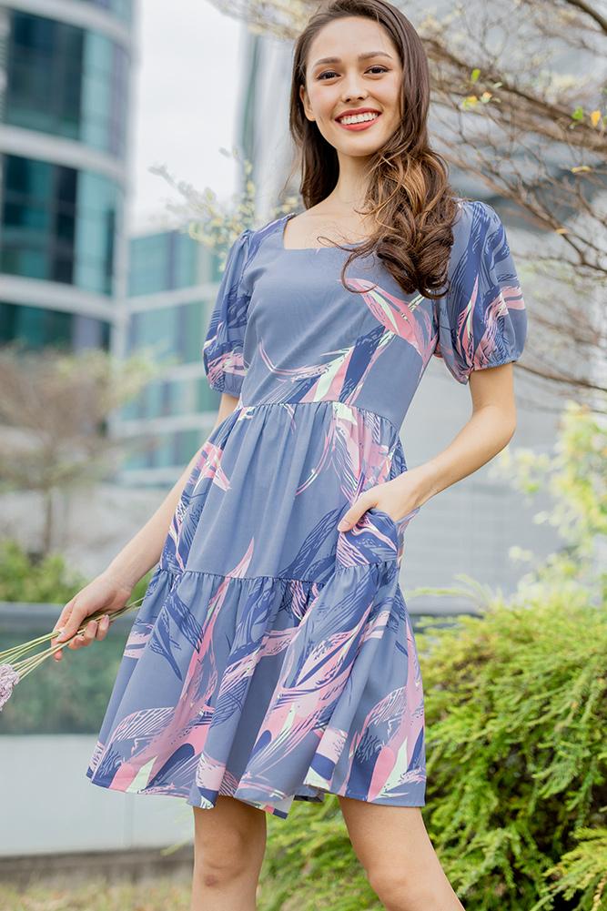 Nadia Tiered Swing Dress (Blue Iris Abstract)