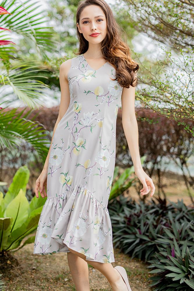 Spring Blossom Midi Mermaid Dress (Ecru)