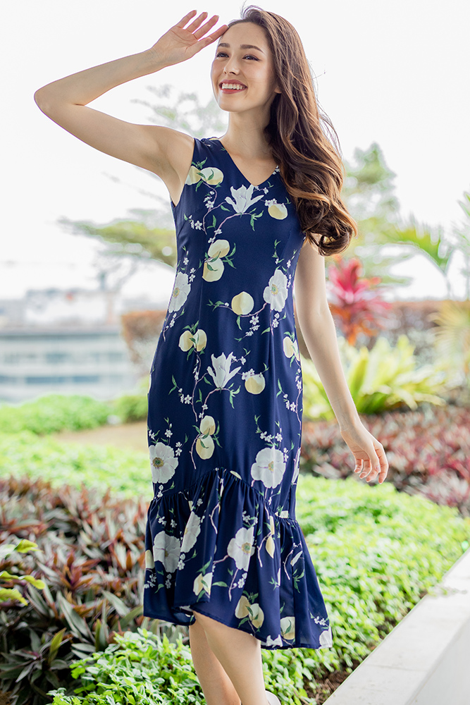 Spring Blossom Midi Mermaid Dress (Navy)