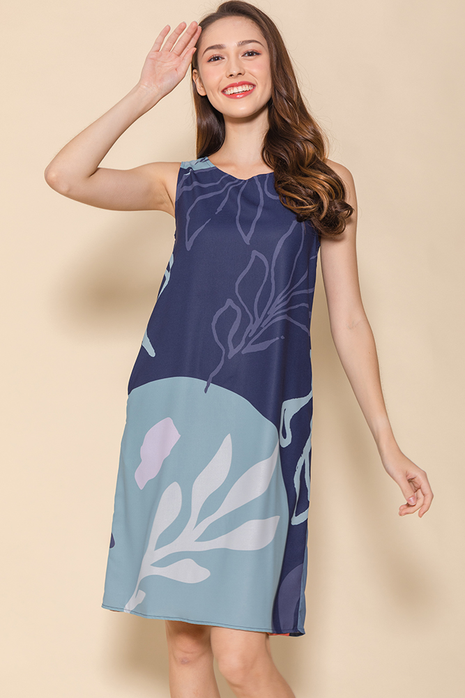 Annika Botanic Reversible Shift Dress (Navy/Tea Rose)