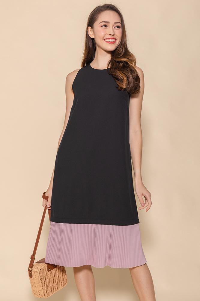 Alanis Pleated Hem Midi Dress (Black/Pink)