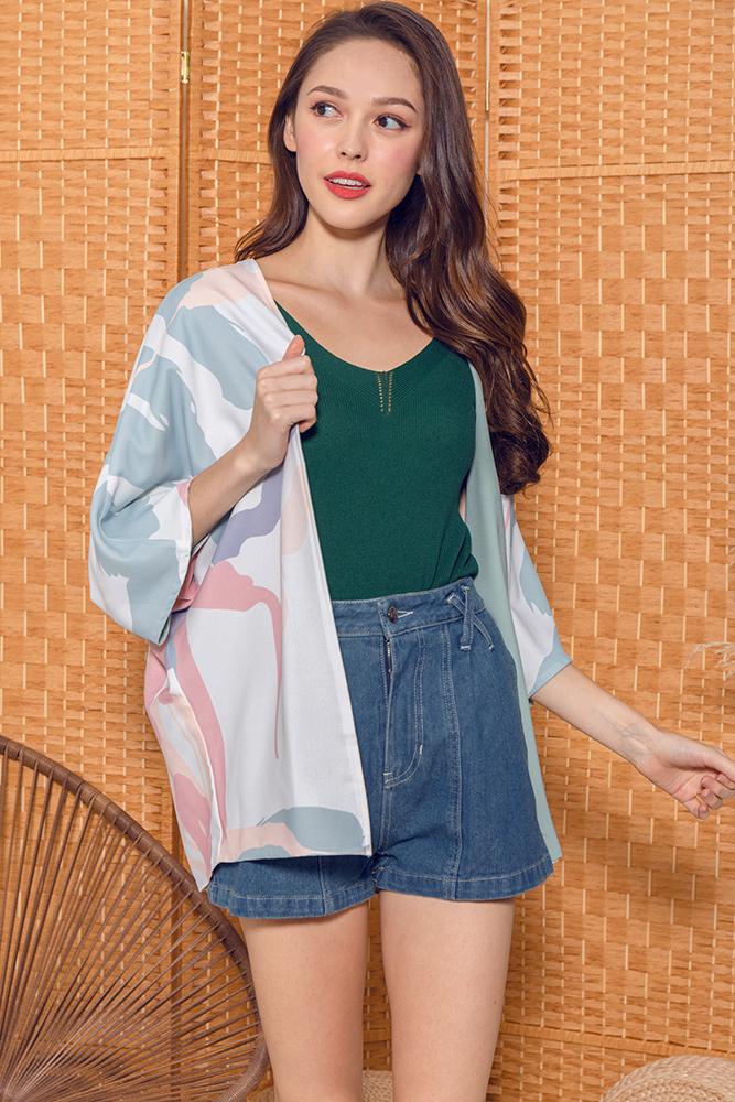 Hypatia Artsy Reversible Kimono Jacket (White/Sage)