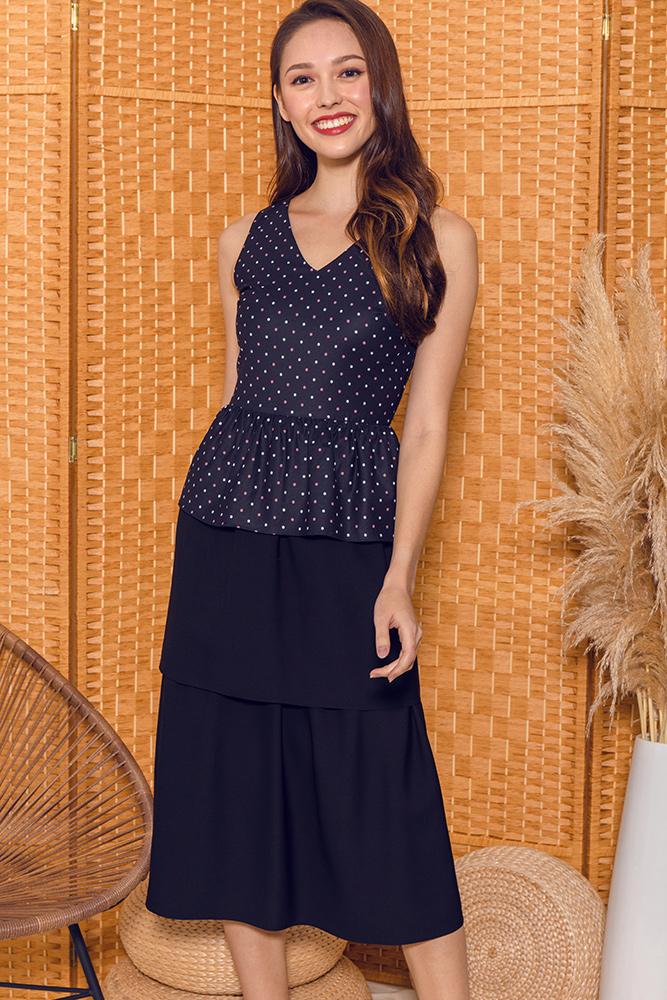 Cara Convertible Layered Peplum Dress (Black)