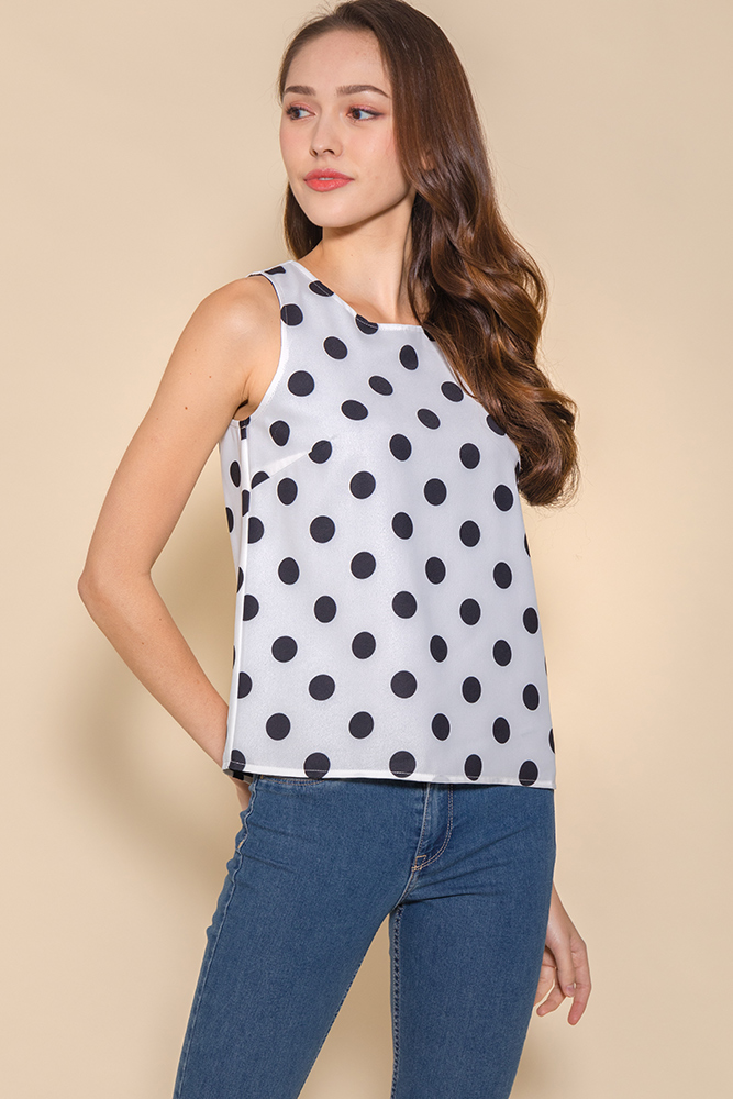 Erin Dotted Reversible Tank Top (White/Black)