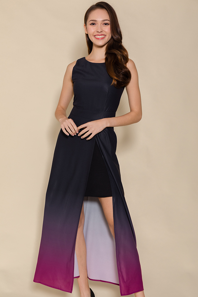 Bonita Front Slit Ombre Maxi Dress (Stardust Wine)