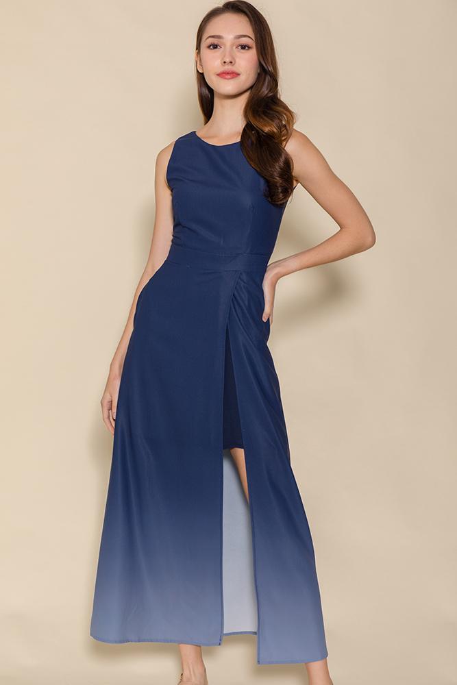 Bonita Front Slit Ombre Maxi Dress (Galaxy Blue)
