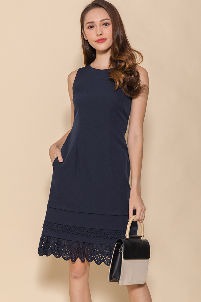 Yvette Crochet Hem Dress (Navy)
