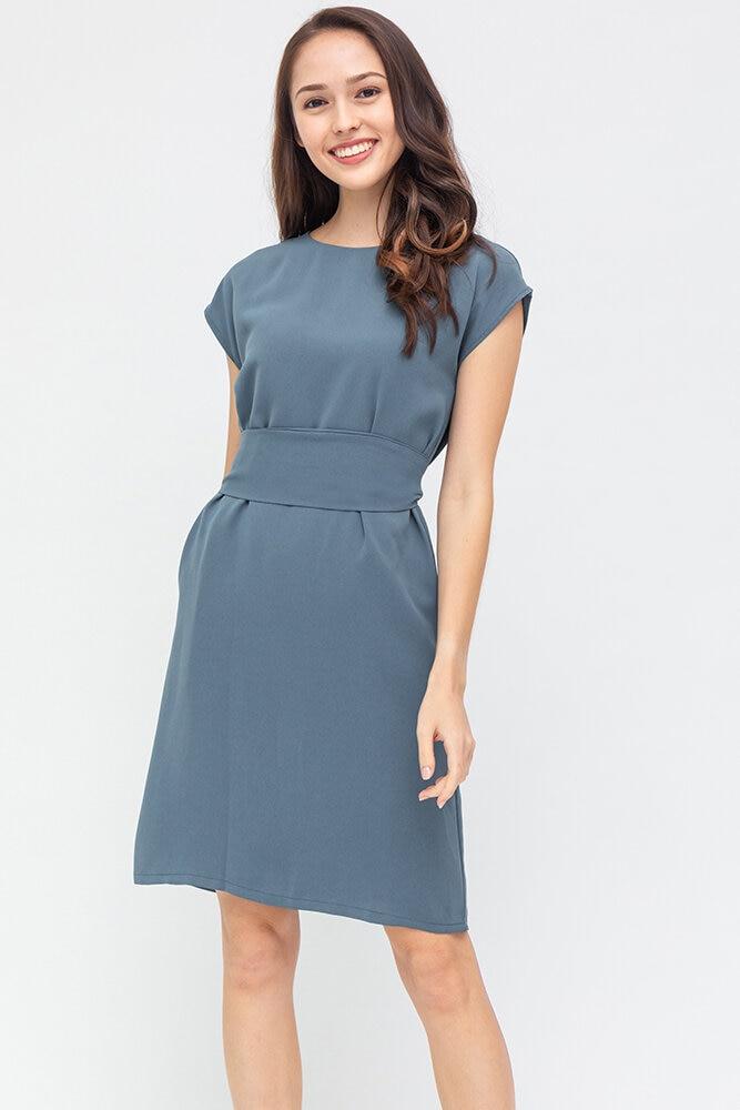 Carra Comfy Shift Dress (Ash Blue)