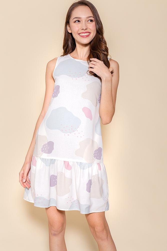 On Cloud Nine Reversible Drop Waist Dress (Cream/Black)