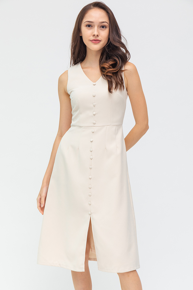 Duchess of York Buttons Down Midi Dress (Ivory)