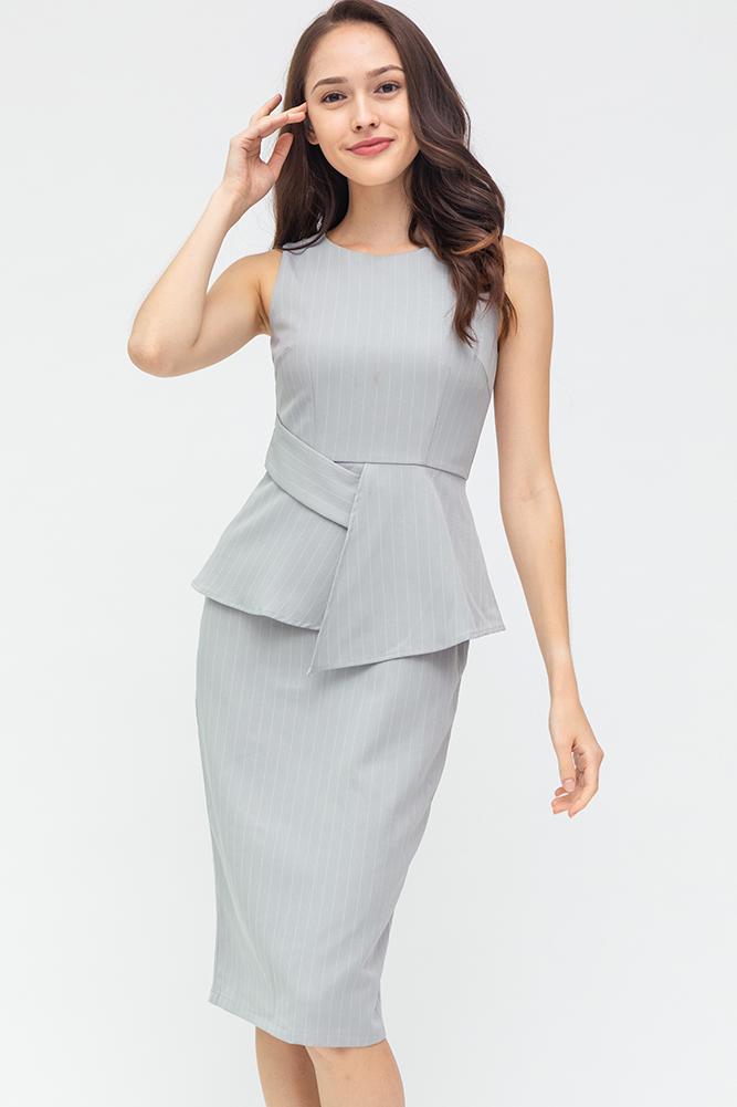 Morgan Striped Dress (Dove Grey)