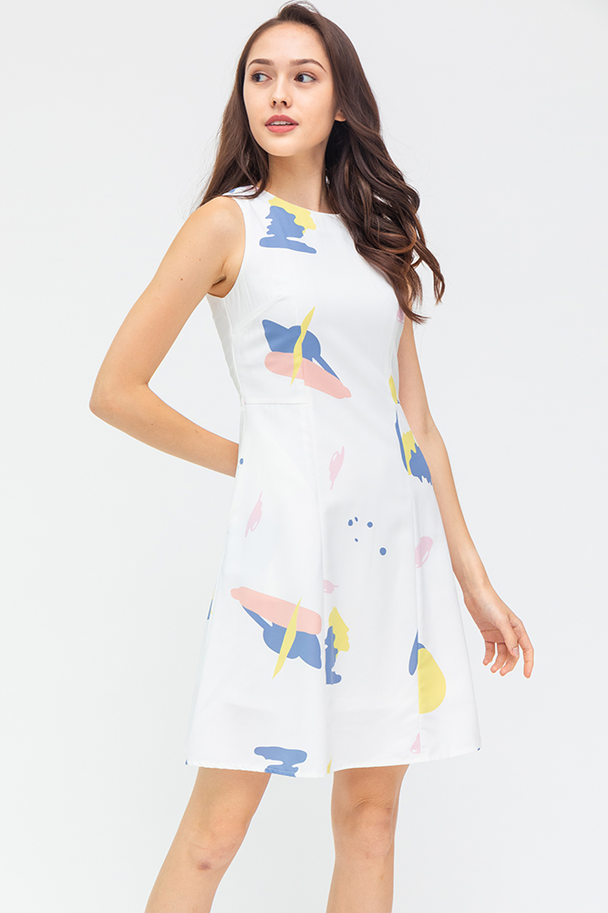 Hello There! Abstract A-Line Dress (White)