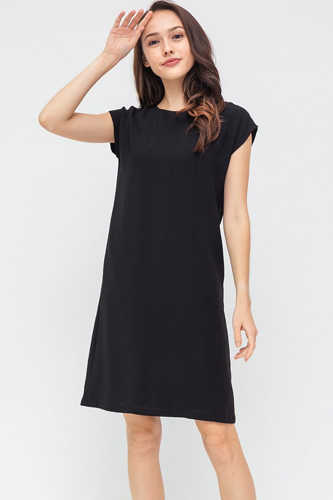 Carra Comfy Shift Dress (Black)
