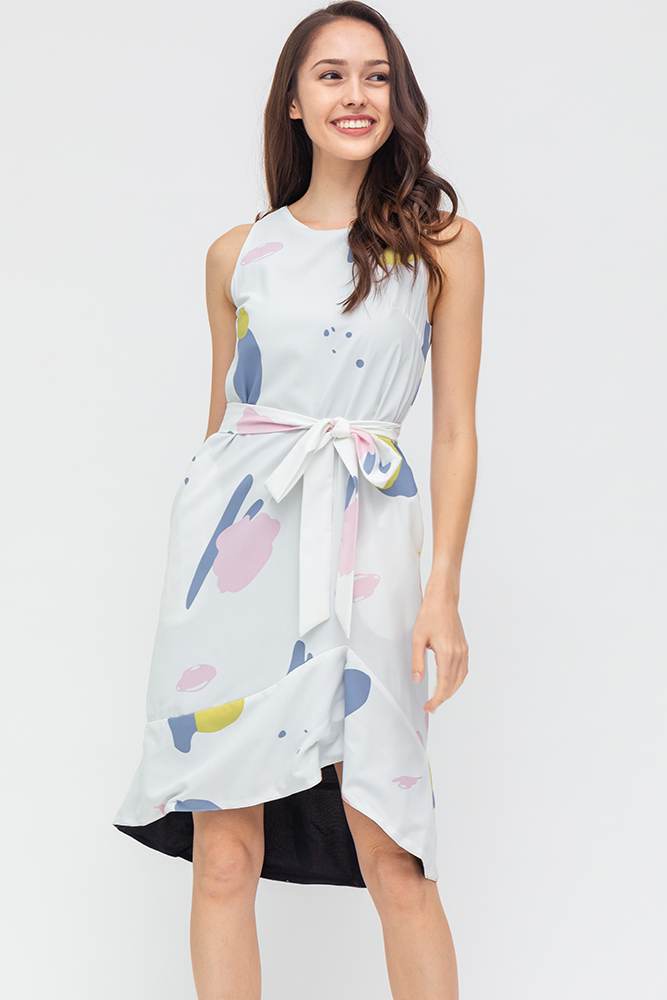 Kristi Abstract Asymmetrical Hem Dress (White)