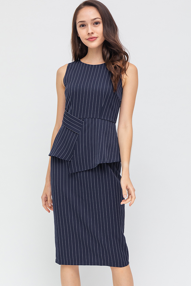 Morgan Striped Dress (Navy)