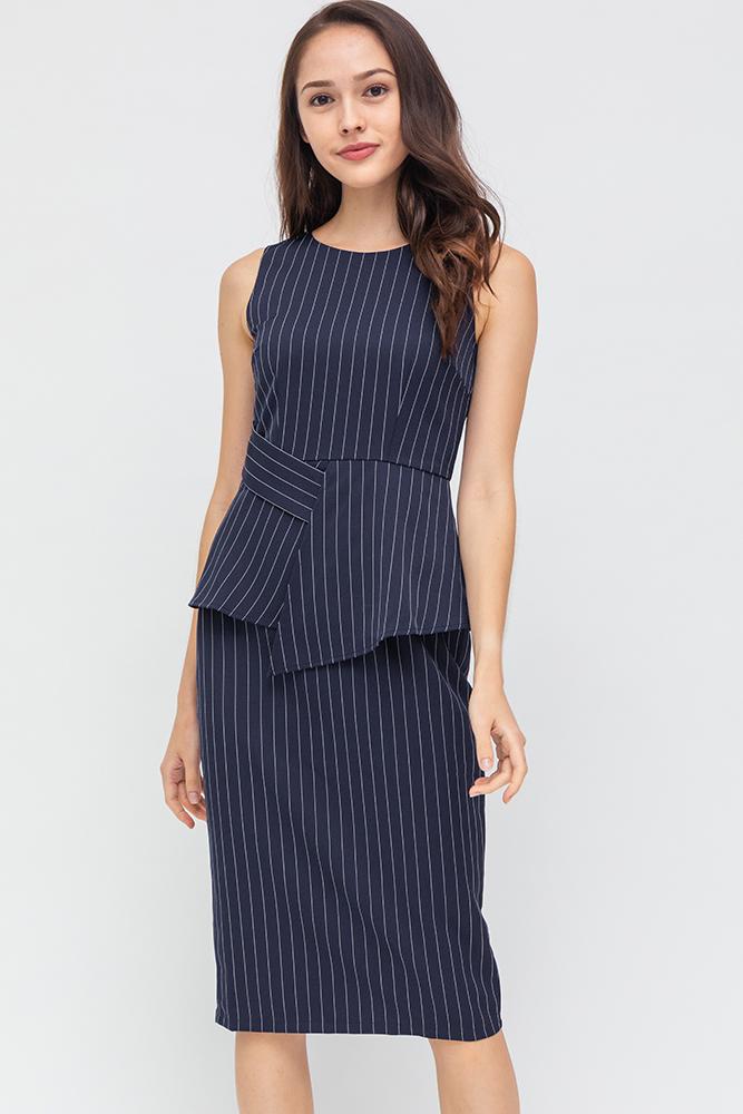 Morgan Striped Dress (Navy)