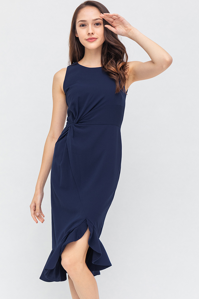 Tiarra Front Knot Dress (Navy)