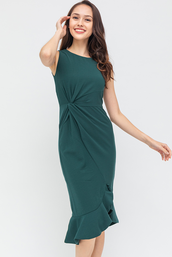 Tiarra Front Knot Dress (Emerald)