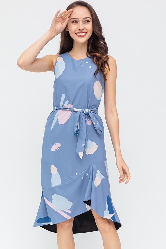 Kristi Abstract Asymmetrical Hem Dress (Cornflower Blue)