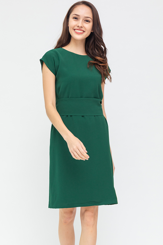 Carra Comfy Shift Dress (Forest Green)