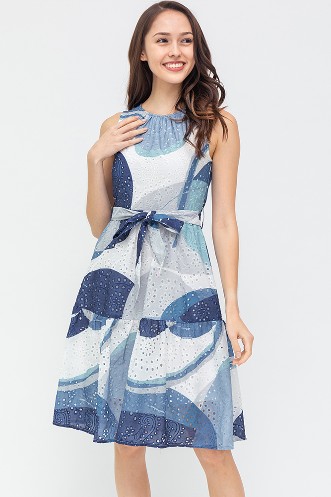 Colours Of The Wind Eyelet Dress (Swirl Blue)