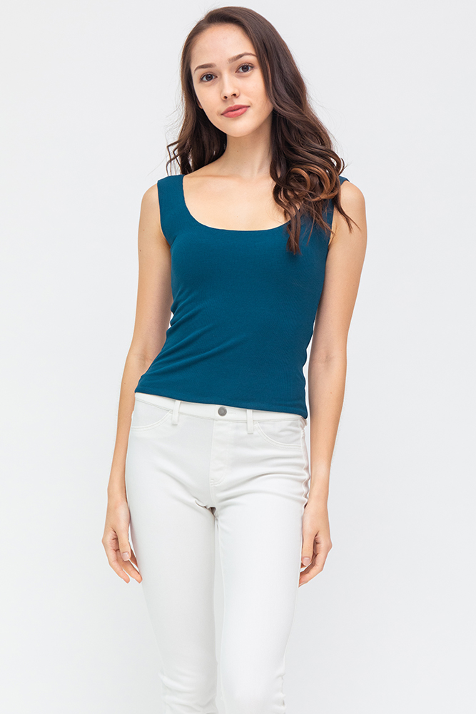 Theo Reversible Stretchy Ribbed Top (Teal/Lilac)