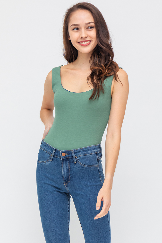 Theo Reversible Stretchy Ribbed Top (Seafoam/Teal)