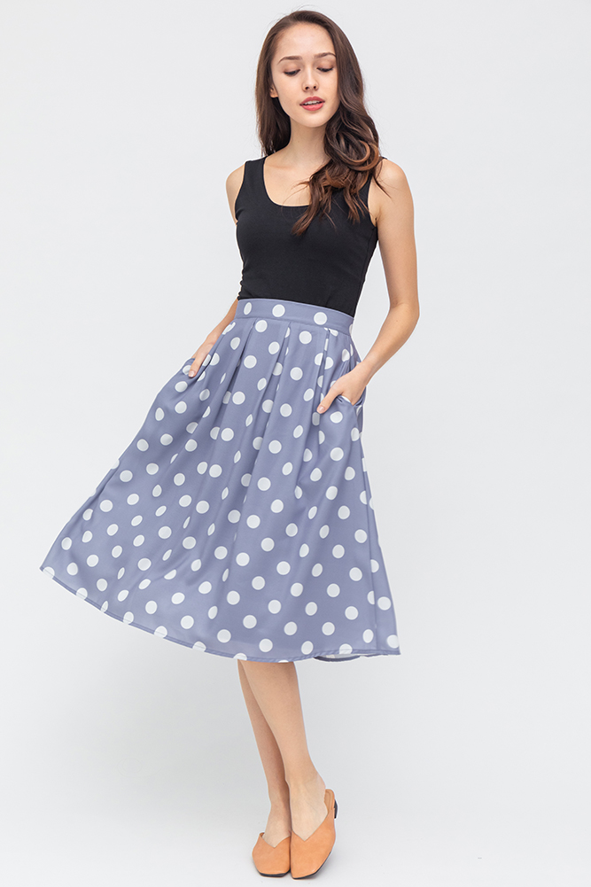 Hailey Polkadot Swing Skirt (Periwinkle Blue)