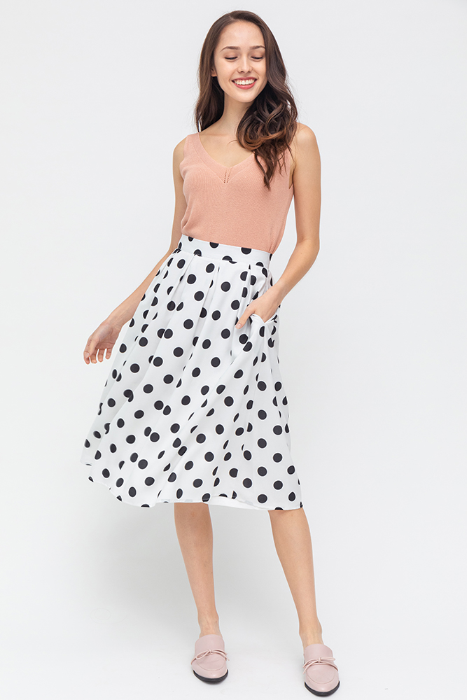 Hailey Polkadot Swing Skirt (White)