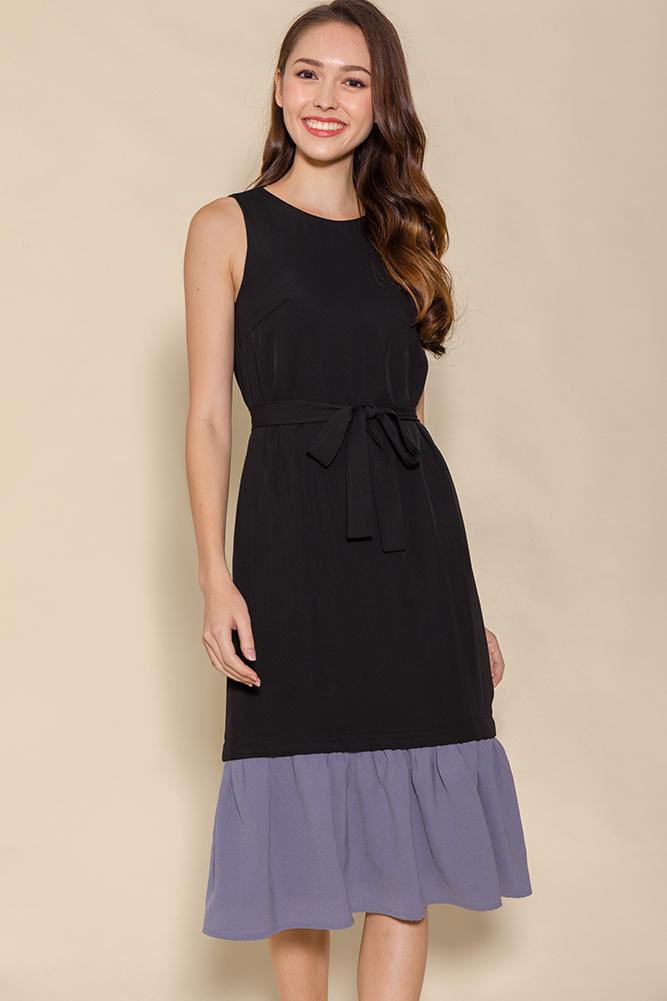 Karita Drop Waist Midi Dress W Interchangeable Hem (Black)