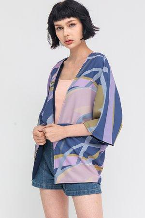 Whimsical Art Reversible Kimono Jacket W Fabric Mask (Sapphire/Navy)