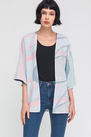 Whimsical Art Reversible Kimono Jacket W Fabric Mask (Misty White/Purple Grey)