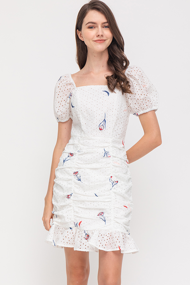 Bloomington Ruched Eyelet Flounce Dress (White)