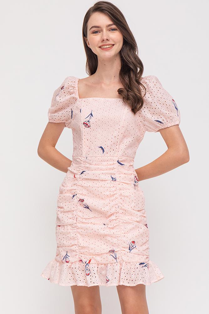 Bloomington Ruched Eyelet Flounce Dress (Pink)