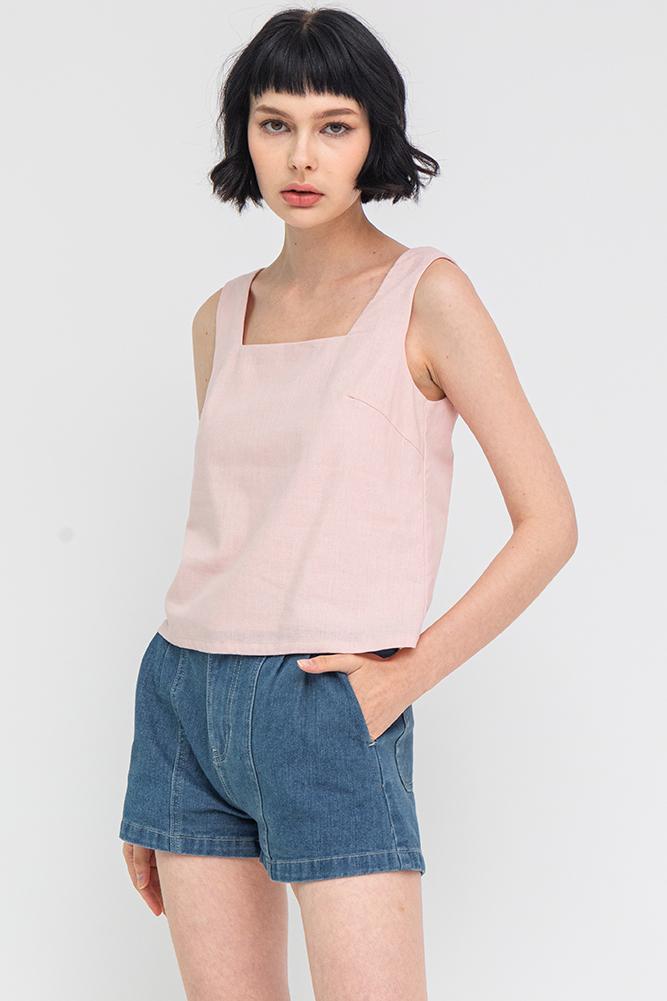 Jasper Linen Top (Pink)