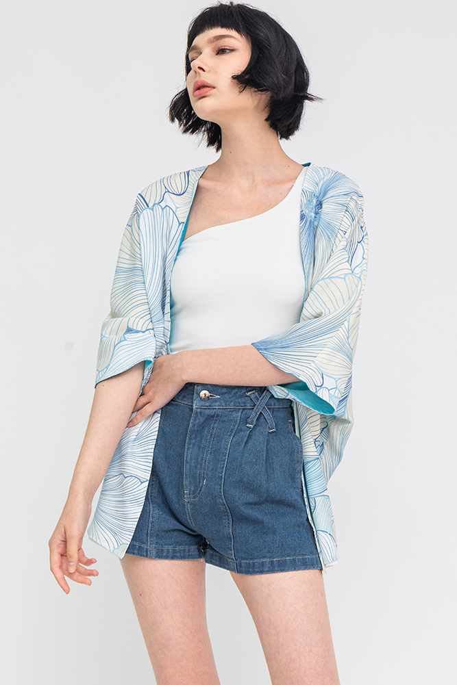Secret Whisper Reversible Kimono Jacket (Aqua)