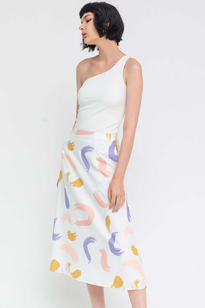 The Abstract Expressionist Midi Skirt (White)
