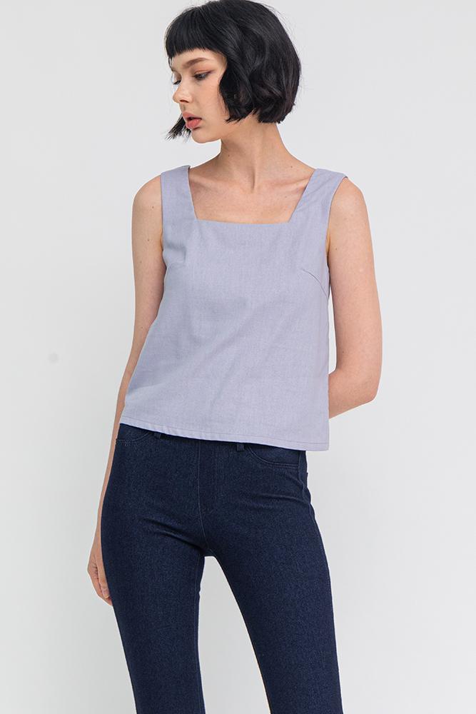 Jasper Linen Top (Lilac Grey)