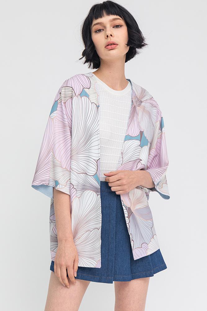 Secret Whisper Reversible Kimono Jacket (Sea Pink)