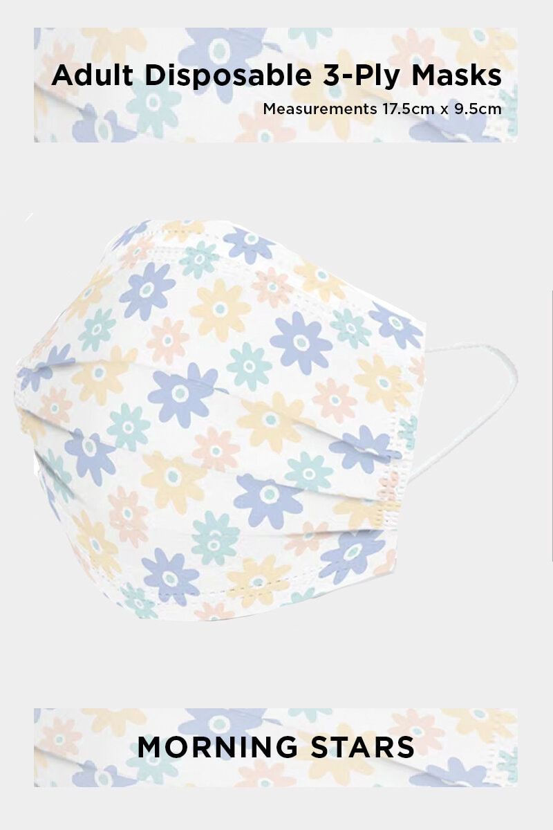 ADULT DISPOSABLE 3-PLY FACE MASK IN MORNING STARS (50 PCS)
