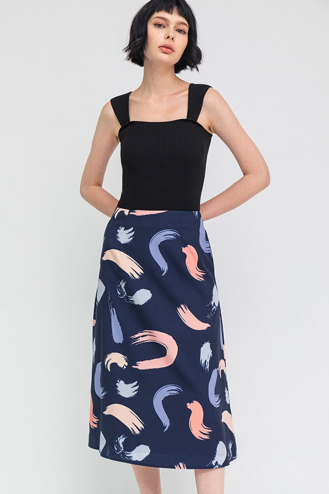 The Abstract Expressionist Midi Skirt (Navy)
