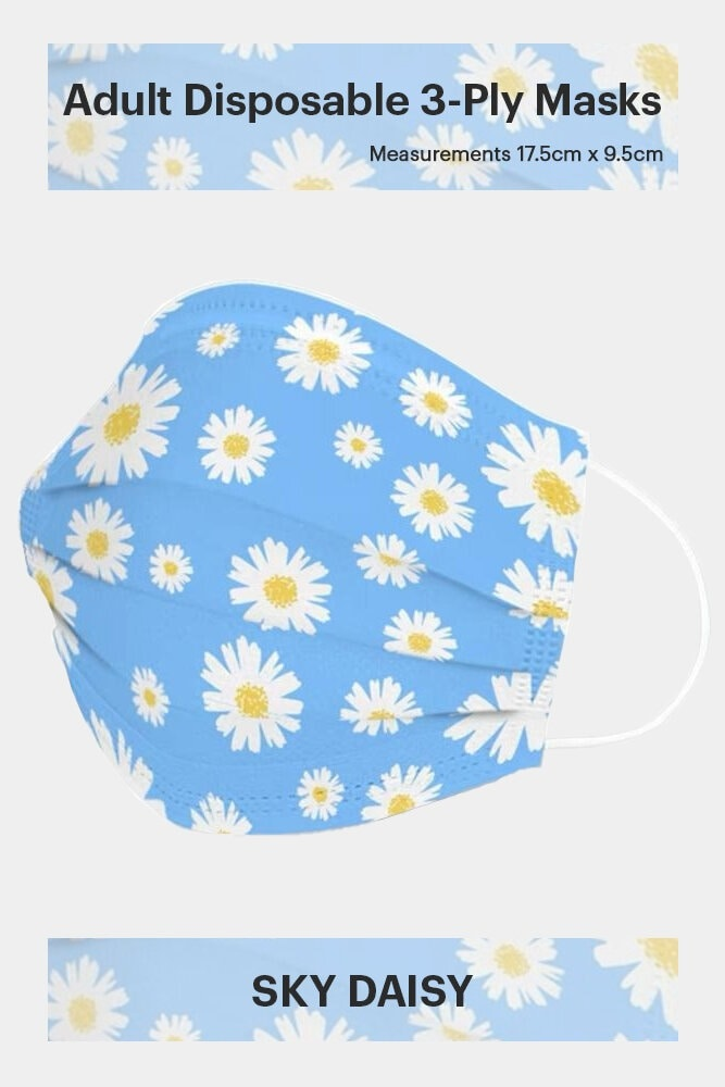 ADULT DISPOSABLE 3-PLY FACE MASK IN SKY DAISY (50 PCS)