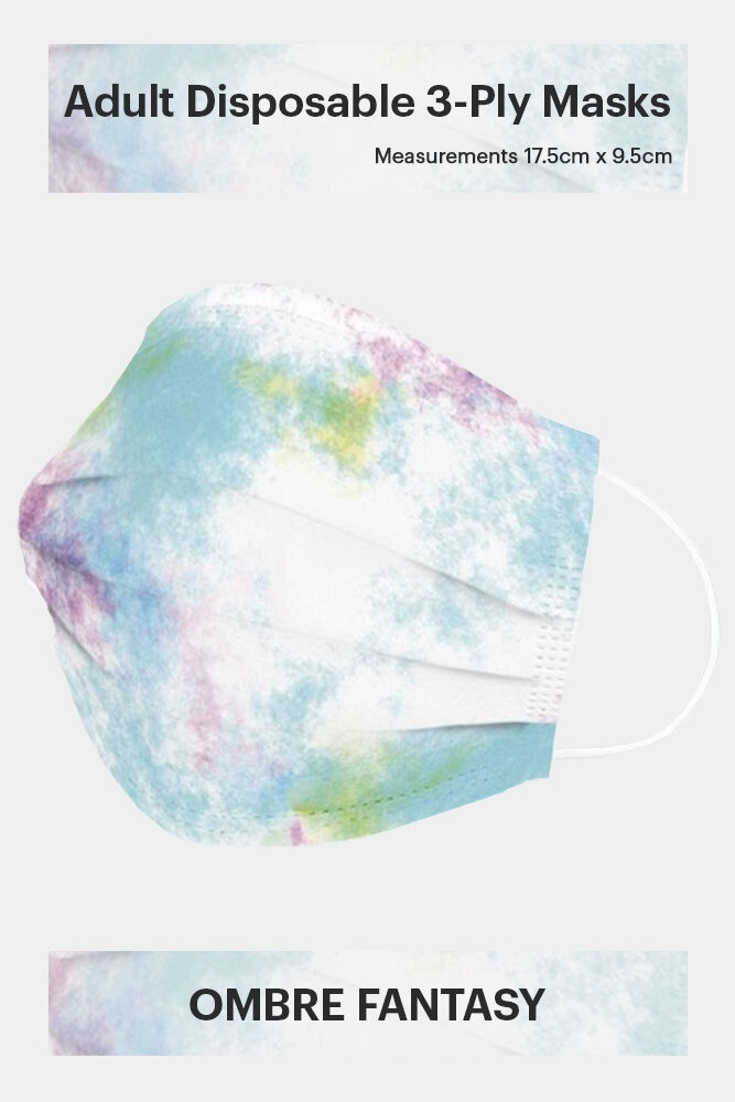 ADULT DISPOSABLE 3-PLY FACE MASK IN OMBRE FANTASY (50 PCS)