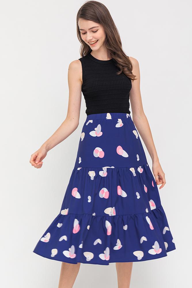 Gigi Tiered Midi Skirt (Navy)